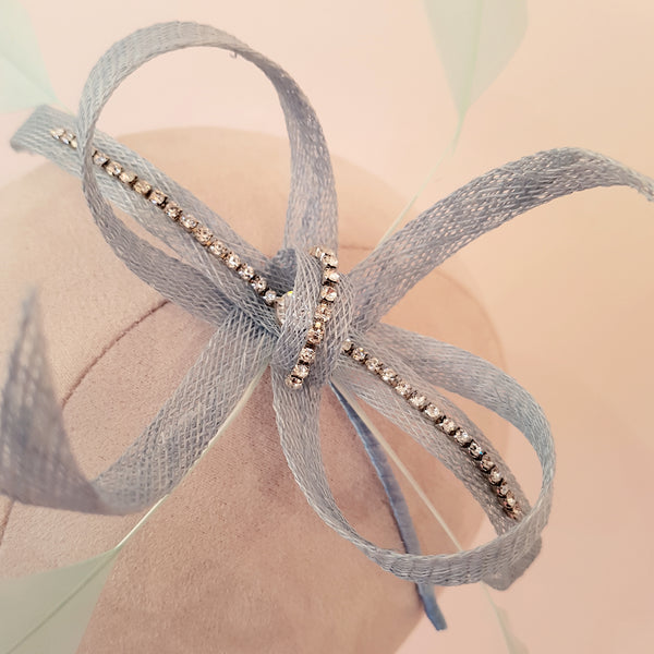 blue bow fascinator