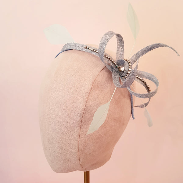 pale blue wedding fascinator
