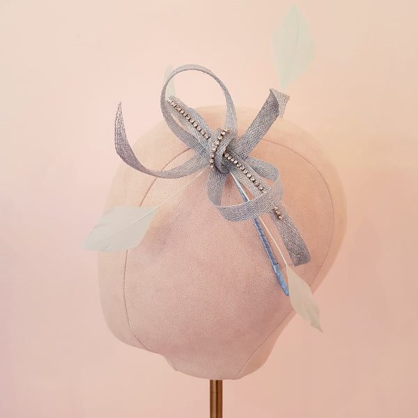 pale blue fascinator for wedding guests & bridesmaids