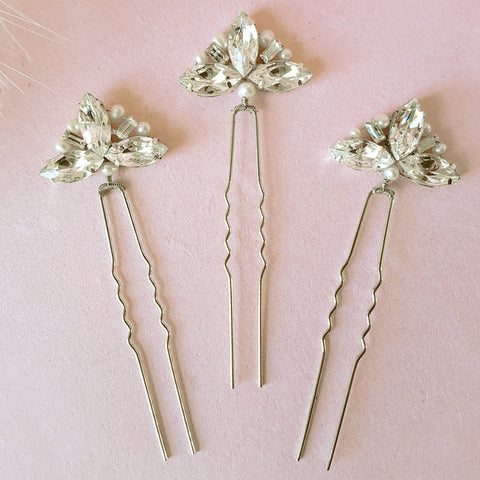 CRYSTAL FAN WEDDING HAIR PINS | SUSIE WARNER BRIDAL HAIR PINS