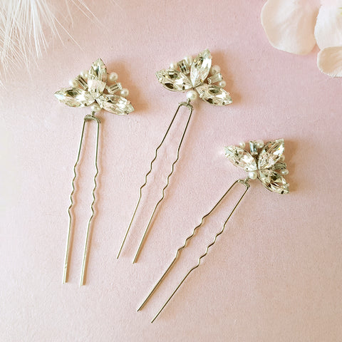 Dolores Vintage Crystal Fan Wedding Hair Pins