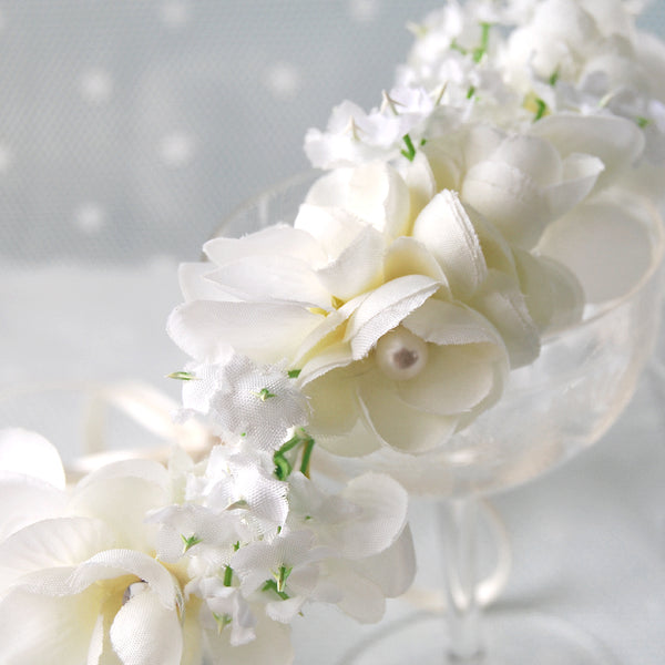 Dreamy Small White Bridal Flower Crown with Pearls by Susie Warner Jewellery & Accessories