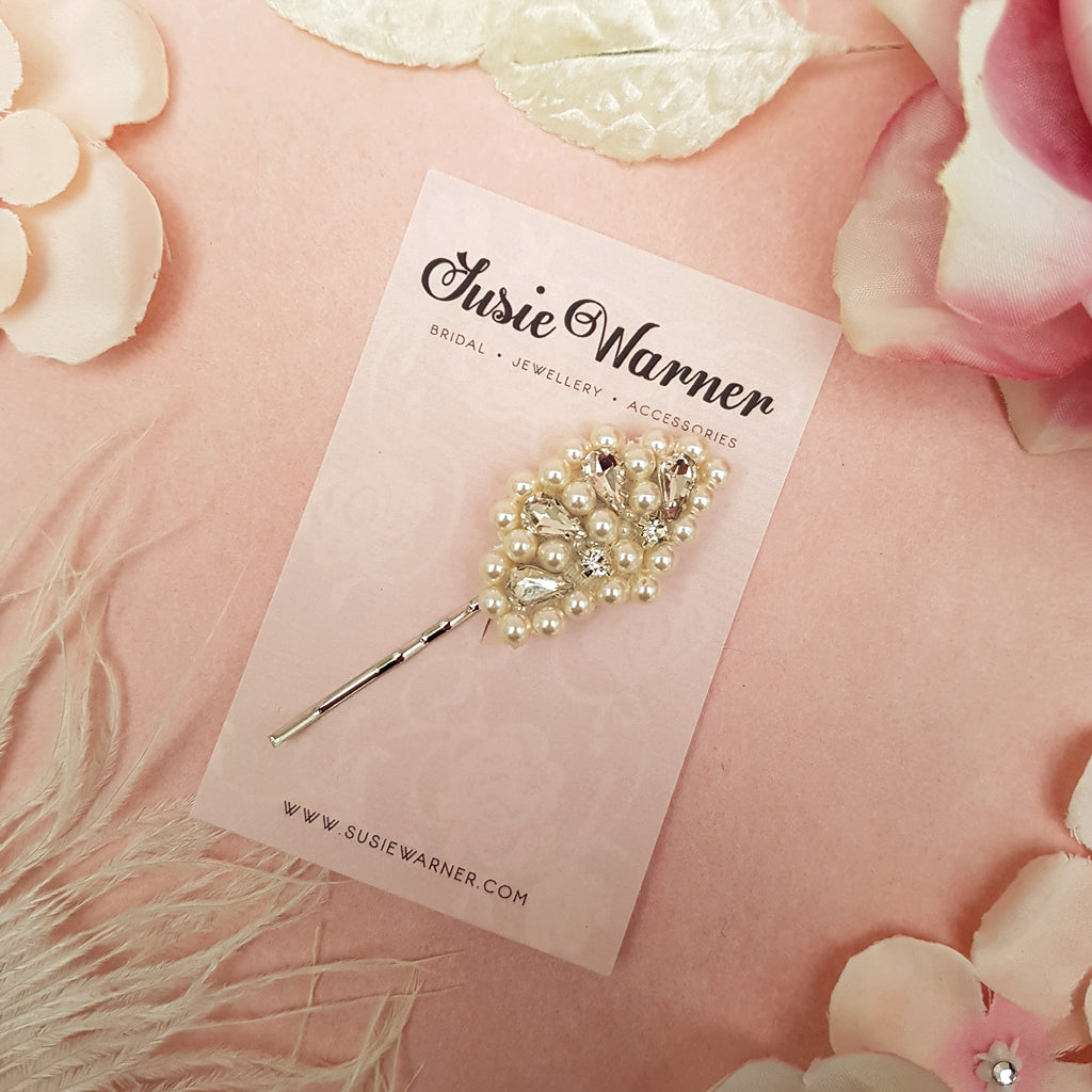 VINTAGE PEARL & CRYSTAL FAN HAIR CLIP | SUSIE WARNER BRIDAL ACCESSORIES