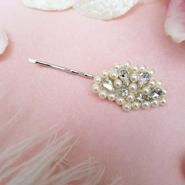 VINTAGE PEARL & CRYSTAL FAN WEDDING HAIR CLIP | SUSIE WARNER BRIDAL ACCESSORIES