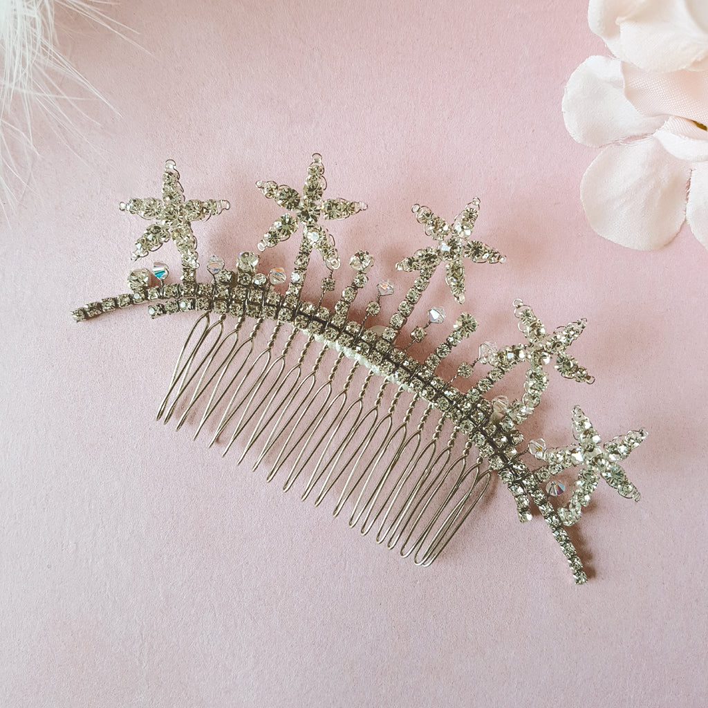 VINTAGE DIAMANTE STAR WEDDING HAIR COMB | SUSIE WARNER BRIDAL HAIR COMBS
