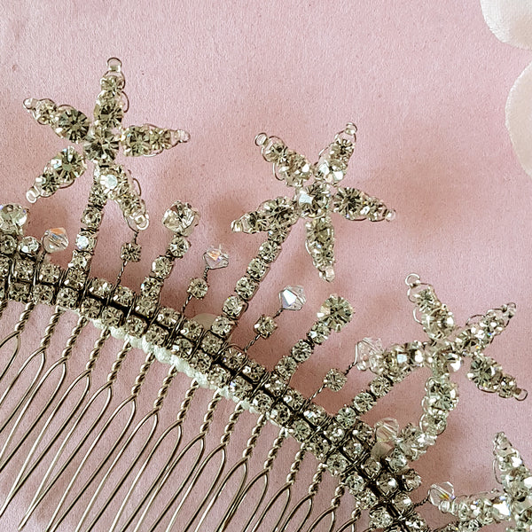 VINTAGE CRYSTAL DIAMANTE STAR WEDDING HAIR COMB | SUSIE WARNER BRIDAL ACCESSORIES