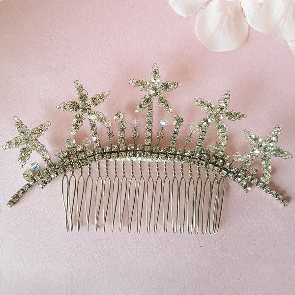 VINTAGE DIAMANTE CRYSTAL STAR WEDDING HAIR COMB | SUSIE WARNER BRIDAL HAIR COMBS