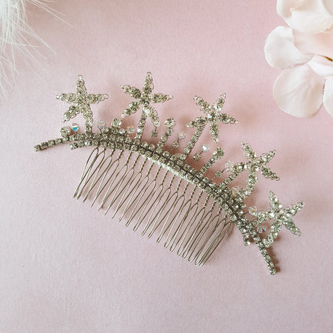 Estelle Vintage Crystal Star Wedding Hair Comb