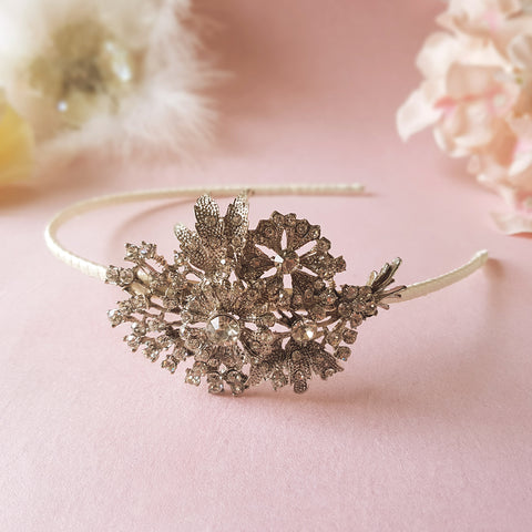 Eternity Vintage Crystal Flower Bridal Side Tiara Headpiece