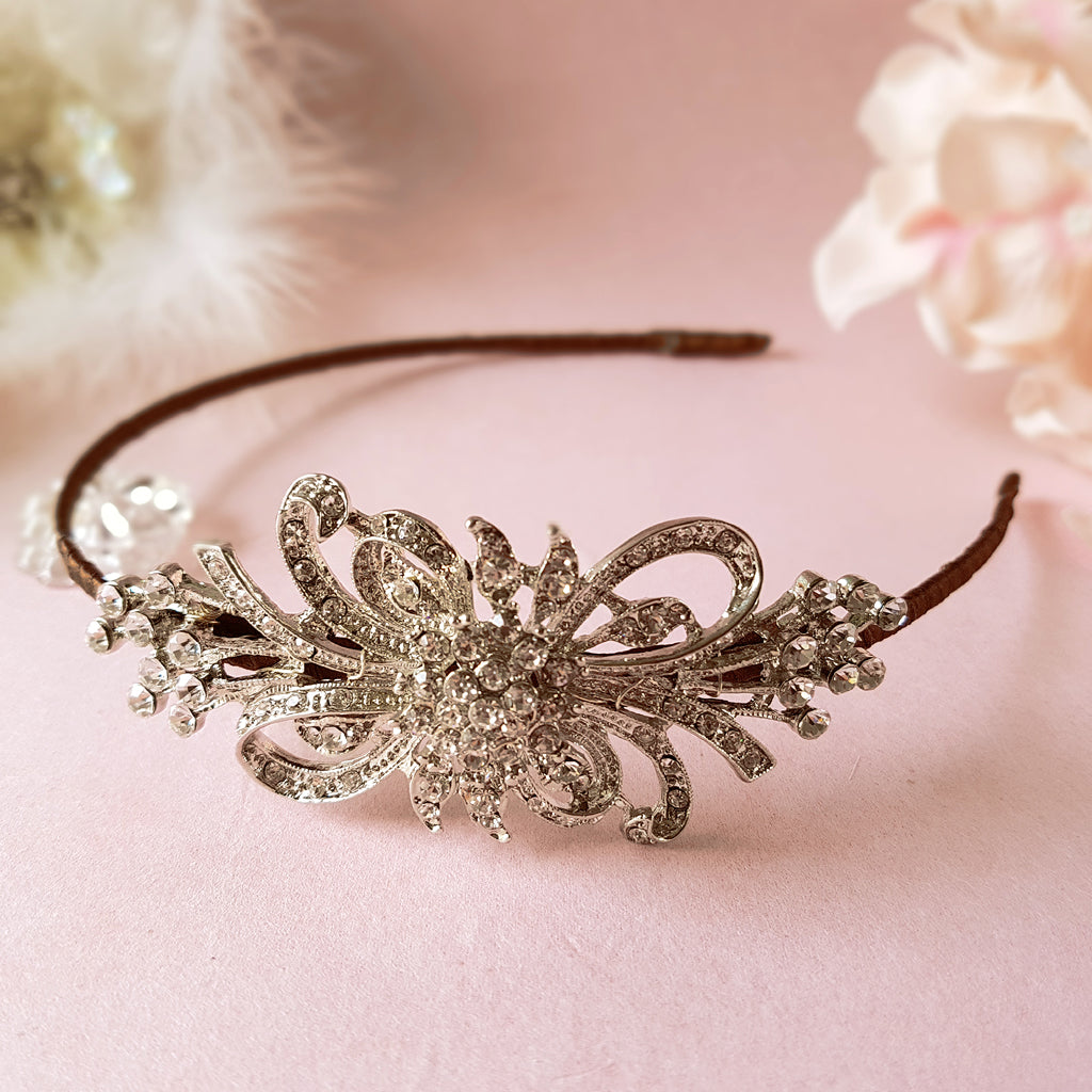 First Love Vintage Crystal Diamante Bow Wedding Side Tiara