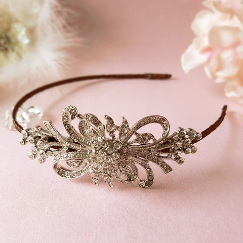 First Love Vintage Diamante Bow Bridal Side Tiara Headband