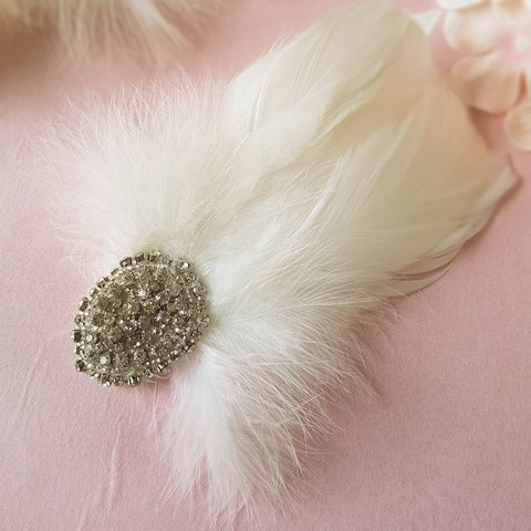 Gigi Vintage Art Deco Wedding Feather Fascinator Hair Clip