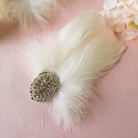 Gigi Vintage Crystal Feather Wedding Fascinator Hair Clip