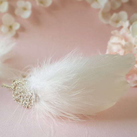 Gigi Vintage Crystal Feather Wedding Fascinator Headdress