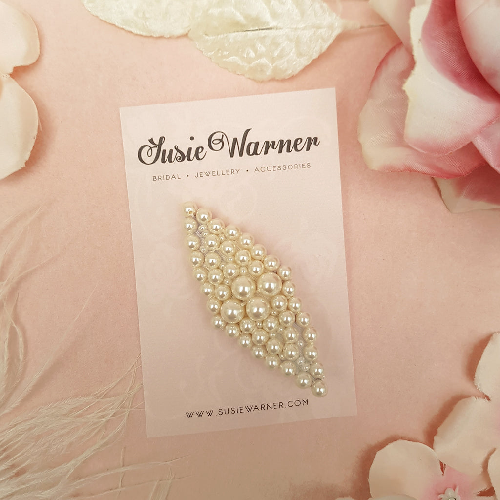 VINTAGE ART DECO PEARL DIAMOND WEDDING HAIR CLIP | SUSIE WARNER HAIR ACCESSORIES