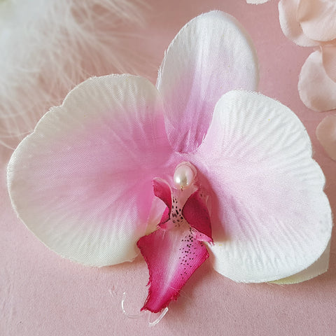 Glorious Faux Silk Orchid Wedding Hair Flower