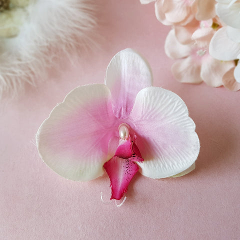 Glorious Pink Orchid Bridal Silk Hair Flower