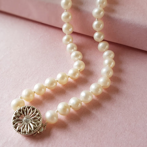 Grace Vintage Pearl Wedding Necklace with Art Deco CZ Clasp