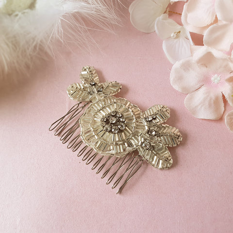 Greta Art Deco Crystal Flower Wedding Hair Comb