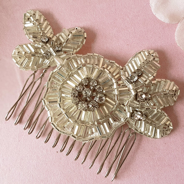 Greta Art Deco Flower Bridal Hair Comb For Weddings
