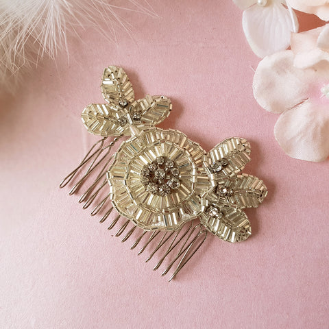 Greta Vintage Art Deco Crystal Flower Wedding Hair Comb