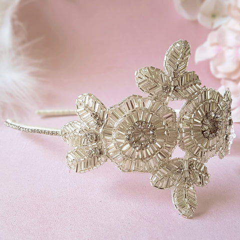 Greta Luxury Art Deco Flower Wedding Headpiece