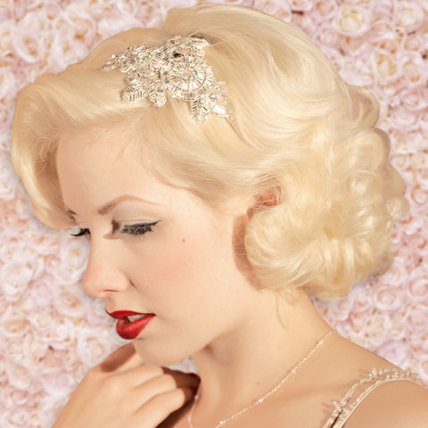 Greta Vintage Art Deco Flower & Leaves Side Tiara Bridal Headdress