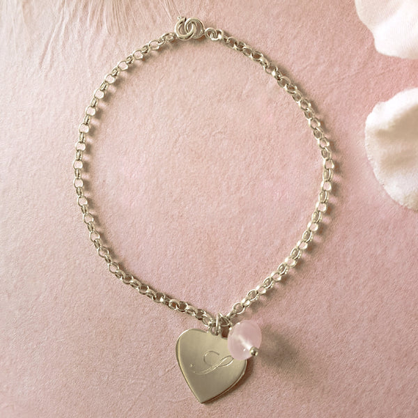 Hearts a Flutter Engraved Personalised Heart Bracelet