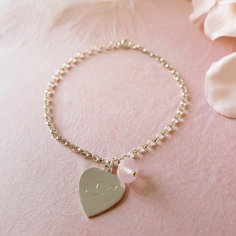 Hearts a Flutter Engraved Personalised Sterling Silver Heart Bracelet