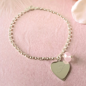 Hearts a Flutter Engraved Personalized Sterling Silver Heart Bracelet