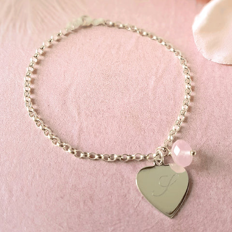 Hearts a Flutter Personalised Sterling Silver Engraved Heart Bracelet