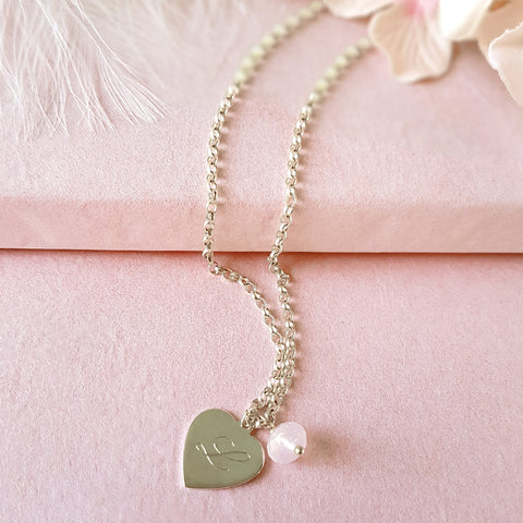 Hearts a Flutter Engraved Personalised Sterling Silver Heart Necklace