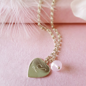 Hearts a Flutter Engraved Personalized Sterling Silver Heart Necklace