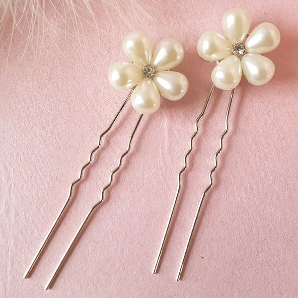 Heart Throb Pearl Wedding Hair Pins Set