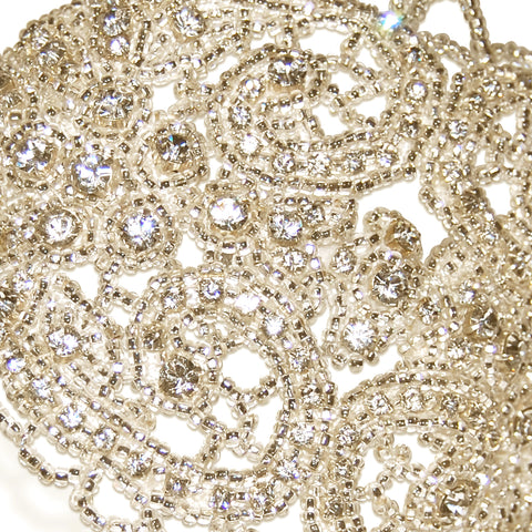 Hedy Vintage Beaded Diamante Statement Wedding Headdress Detail