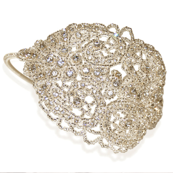 Hedy Vintage Beaded Diamante Statement Wedding Headdress