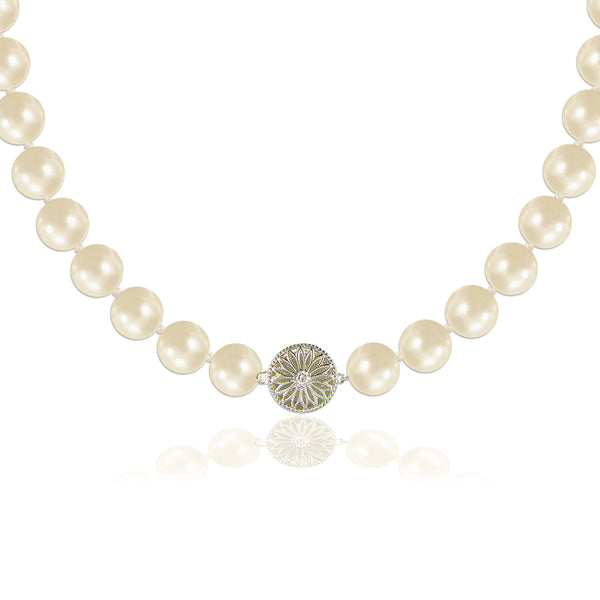 Pearl Necklace with Art Deco Diamond Clasp - Susie Warner Jewellery