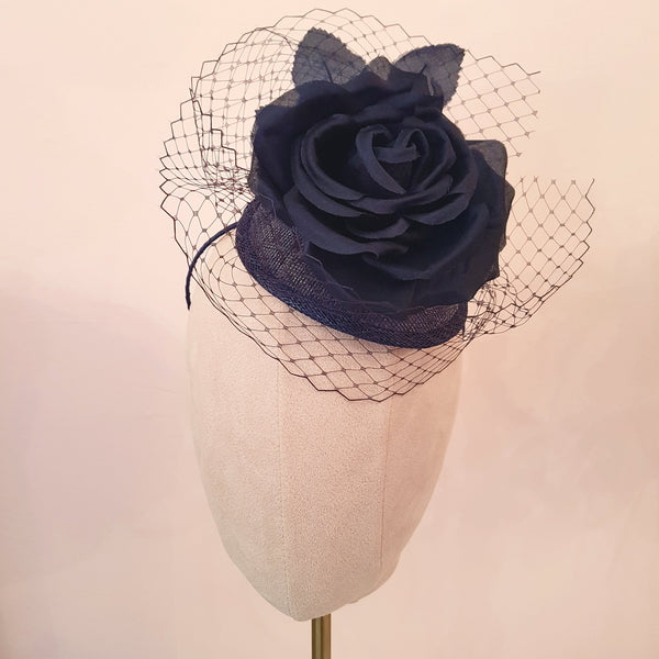 navy silk rose fascinator