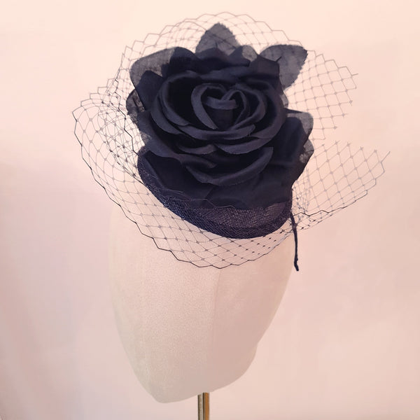 navy fascinator for wedding guests