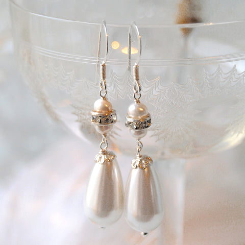 Honey Statement Vintage Pearl & Crystal Wedding Earrings