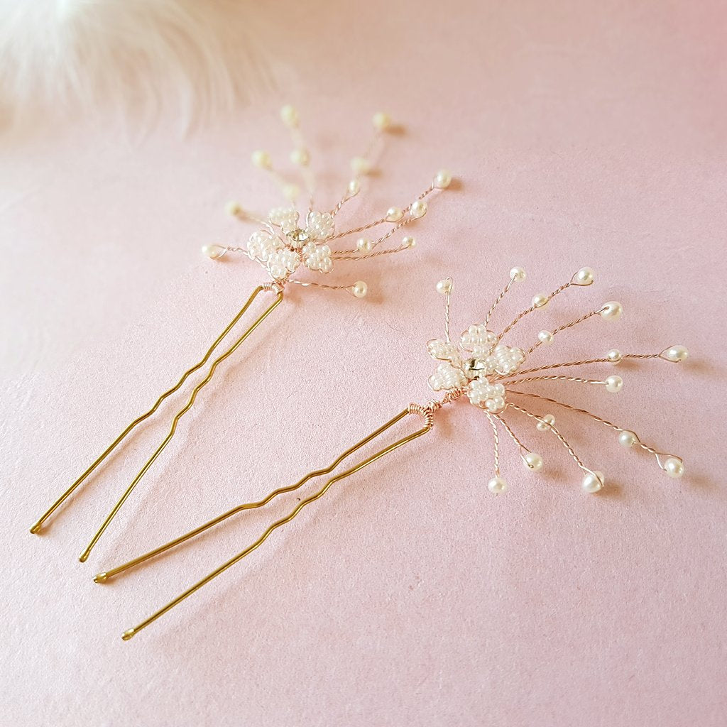 Pearl Cherry Blossom Wedding Hair Pins | Susie Warner Bridal Accessories