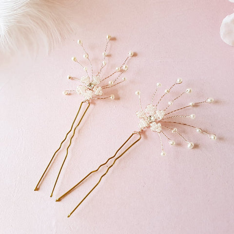 Vintage Pearl Cherry Blossom Wedding Hair Pins | Susie Warner Bridal Hair Pins