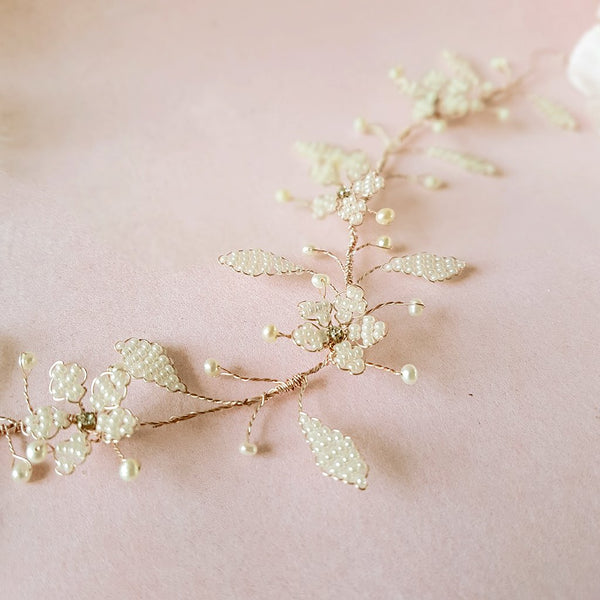 VINTAGE PEARL CHERRY BLOSSOM HEADDRESS | SUSIE WARNER WEDDING HAIR VINES