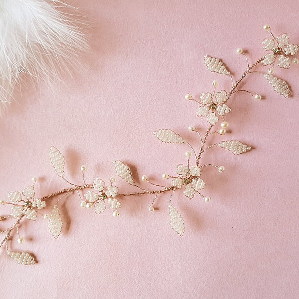 VINTAGE PEARL CHERRY BLOSSOM HAIR VINE | SUSIE WARNER WEDDING ACCESSORIES