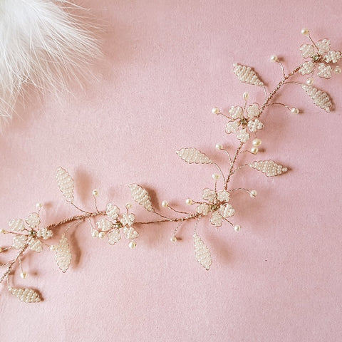 Jasmine Vintage Beaded Pearl Cherry Blossom Hair Vine