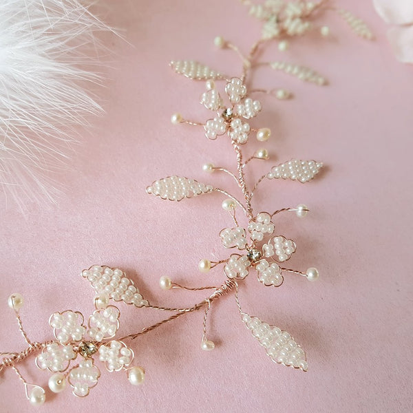 VINTAGE PEARL CHERRY BLOSSOM FLOWER HAIR VINE | SUSIE WARNER WEDDING ACCESSORIES