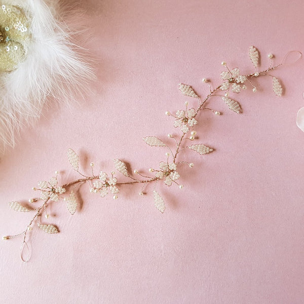 VINTAGE PEARL CHERRY BLOSSOM HAIR VINE | SUSIE WARNER WEDDING HEADDRESSES