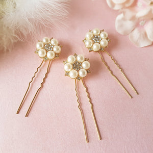 Je T'aime Vintage Gold Pearl & Crystal Wedding Hair Pins