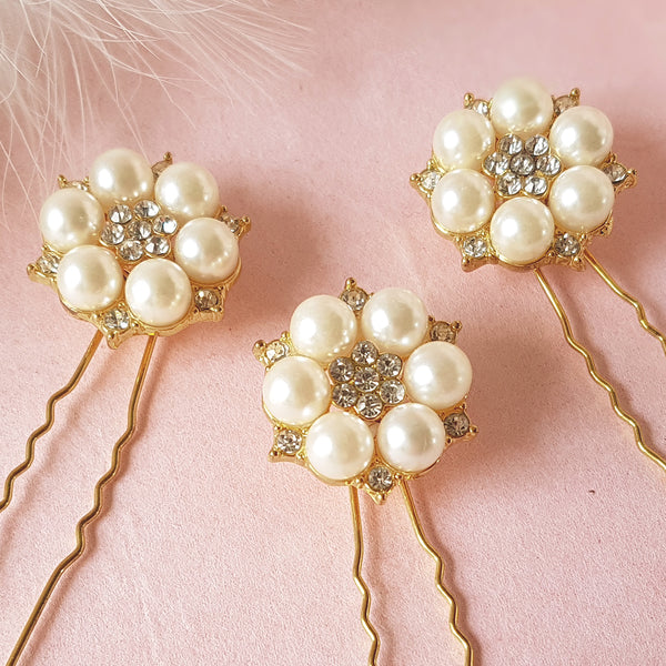 Je T'aime Vintage Gold Pearl & Crystal Bridal Hair Pin Set For Weddings