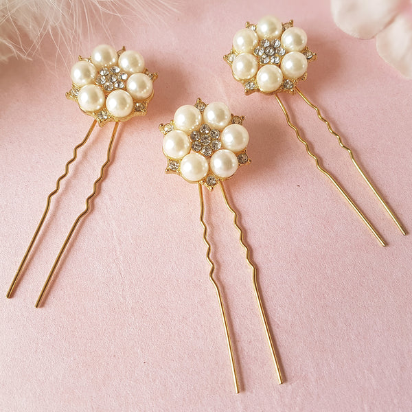 Je T'aime Gold Pearl & Crystal Wedding Hair Pins